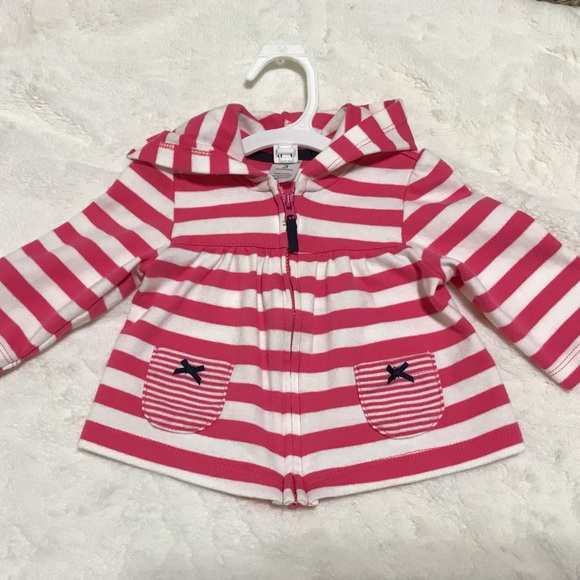 Carter's Other - Carter's Pink & White Striped Hoodie